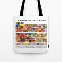 periodic table Tote Bags featuring The Periodic Table of the Muppets by Mike Boon