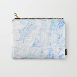 White Marble with Pastel Blue Purple Teal Glitter Carry-All Pouch