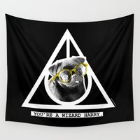 deathly hallows Wall Tapestries featuring PUG SUKI - DEATHLY HALLOWS - 1 by Suki and the City