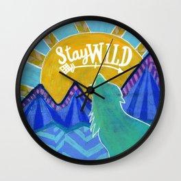 Stay Wild Wolf Sunset Wall Clock