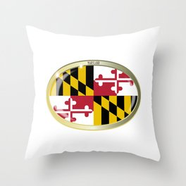 Maryland State Flag Oval Button Throw Pillow