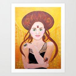 Vanessa, Bug Lover   Acrylic Portrait Painting Art Print