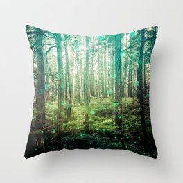 Magical Green Forest - Nature Photography Throw Pillow