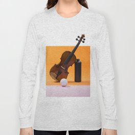 Still-life with a violin, a ball and a dark bottle Long Sleeve T-shirt