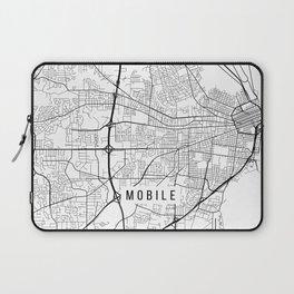 Mobile Map, Alabama USA - Black & White Portrait Laptop Sleeve