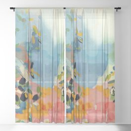 garden with sea view and olive tree Sheer Curtain