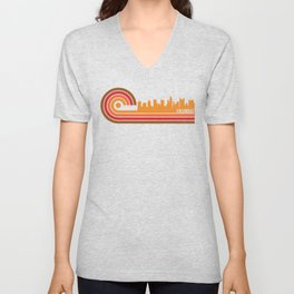 Retro Style Columbus Ohio Skyline Unisex V-Neck