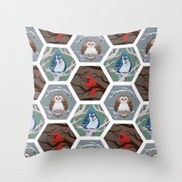 Fat Birds Pattern Throw Pillow
