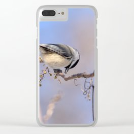 Chickadee at feeding time Clear iPhone Case