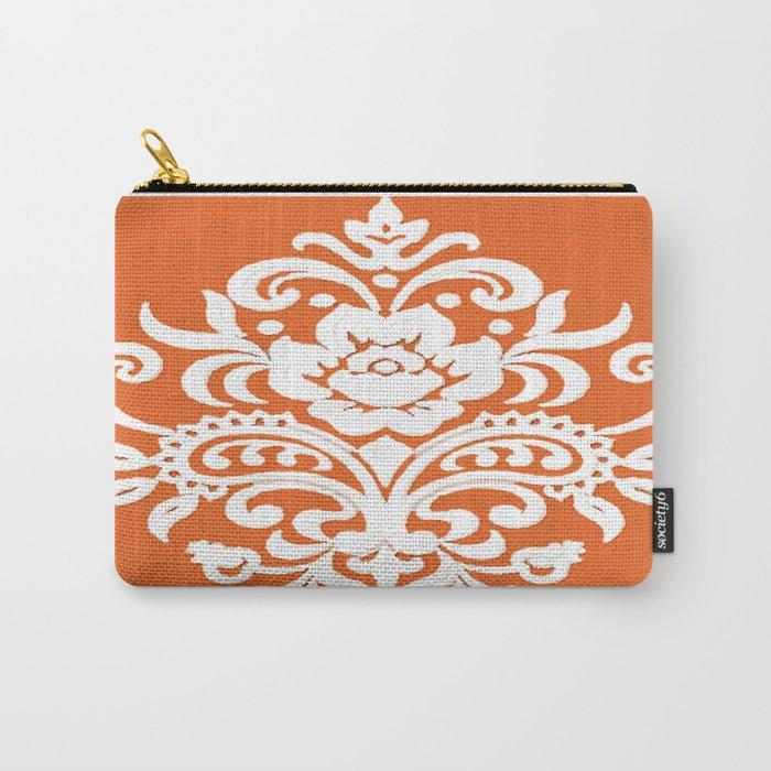 Damask on Peach Carry-All Pouch