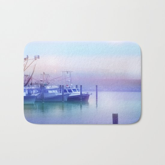 Moored Boats In the Early Morning Fog Bath Mat