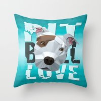 pit bull Throw Pillows featuring Pit Bull by Benjamin Ring