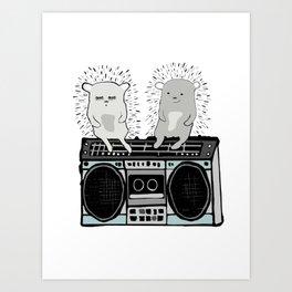 Hedgehogs on Boombox Art Print