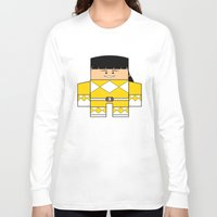 power rangers Long Sleeve T-shirts featuring Mighty Morphin Power Rangers - The Original Yellow Ranger Unmasked (Trini) by Choo Koon Designs