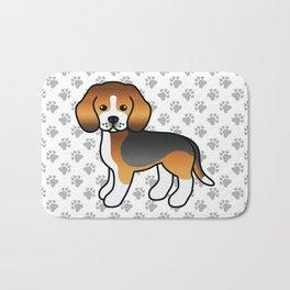 Cute Tricolor Beagle Dog Cartoon Illustration Bath Mat