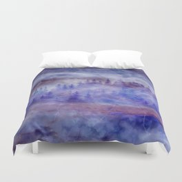 Misty Pine Forest Duvet Cover