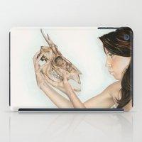 animal skull iPad Cases featuring Confrontation, animal skull and human by Alexandra Bastien