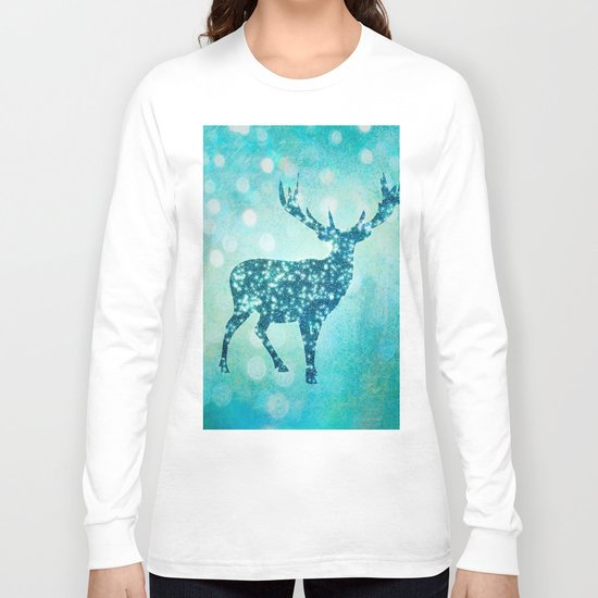 Aqua Turquoise Animal with Glitter Effect -Blue deer Long Sleeve T-shirt