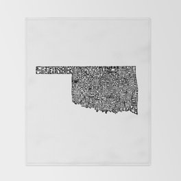 Typographic Oklahoma Throw Blanket