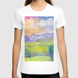 Abstract watercolor landscape with sunset, hills and fields T-shirt