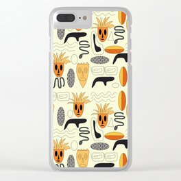 African Masks Pattern Clear iPhone Case