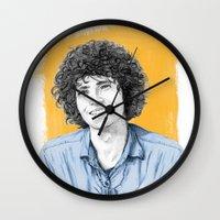 tim shumate Wall Clocks featuring Tim Buckley by Daniel Cash