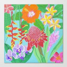 Rainbow Hawaiian flowers Canvas Print