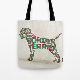 Border Terrier Dog Typography Art / Watercolor Painting Tote Bag