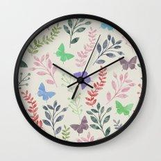 Watercolor flowers & butterflies Wall Clock