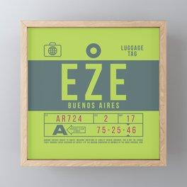 Baggage Tag B - EZE Buenos Aires Ezeiza Argentina Framed Mini Art Print