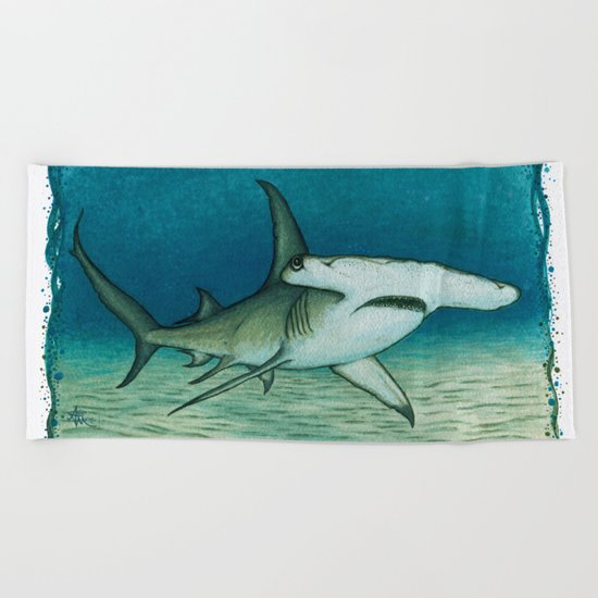 Great Hammerhead Shark ~ Watercolor Painting by Amber Marine Beach Towel