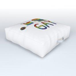 Cute gay rainbow sheep cartoon vector illustration motif set. Outdoor Floor Cushion