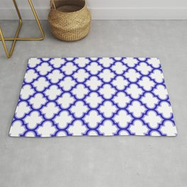 Moroccan Lattice, Oriental Pattern, seamless Morocco Design, blue, white Rug