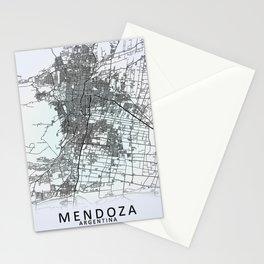 Mendoza, Argentina, White, City, Map Stationery Cards