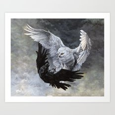 Yin Yang Owl and Raven Art Print