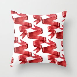 Red ribbons Throw Pillow