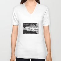 trout V-neck T-shirts featuring Trout Brew by Craig Petersen