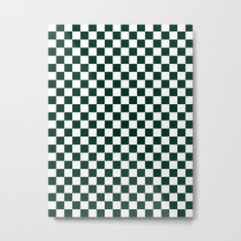 Small Checkered - White and Deep Green Metal Print