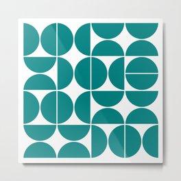Mid Century Modern Geometric 04 Teal Metal Print