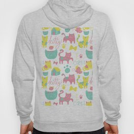 Abstract lime green pink cute cats pattern modern typography Hoody