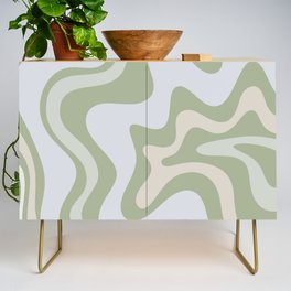 Liquid Swirl Contemporary Abstract Pattern in Light Sage Green Credenza