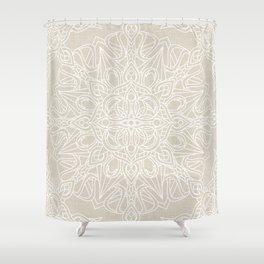 White Lace Mandala on Antique Ivory Linen Background Shower Curtain