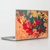 patriarchy Laptop & iPad Skins featuring The Conquering of Man by Henri Scribner