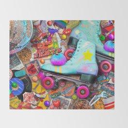 Super Retro Roller Skate Night Throw Blanket