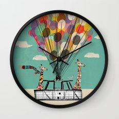Giraffes Days lets go ballooning Wall Clock