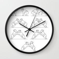 Rikishi Sumo Wrestlers Wrestling Mono Line Collection Set Wall Clock
