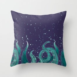 Giant Tentacle Blue Redux Throw Pillow