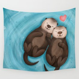 Otters in Love Wall Tapestry