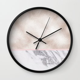 Pearl rose gold with marble Wall Clock