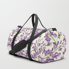 Boho forest green lavender lilac wisteria floral pattern Duffle Bag